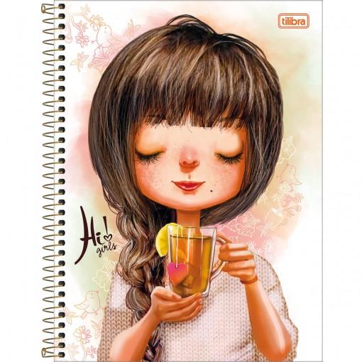 Caderno Espiral Capa Dura Universitário 10 Matérias Hi! Girls 200 Folhas (Pacote com 4 unidades) - Sortido