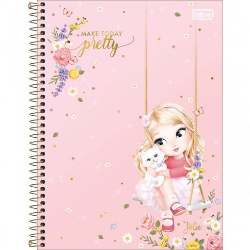 Caderno Espiral Capa Dura Universitário 10 Matérias Jolie 160 Folhas - Sortido