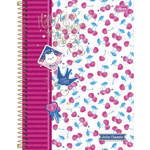 Caderno Espiral Capa Dura Universitário 10 Matérias Jolie Classic 200 Folhas (Pacote com 4 unidades) - Sortido
