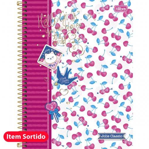 Caderno Espiral Capa Dura Universitário 10 Matérias Jolie Classic 200 Folhas - Sortido