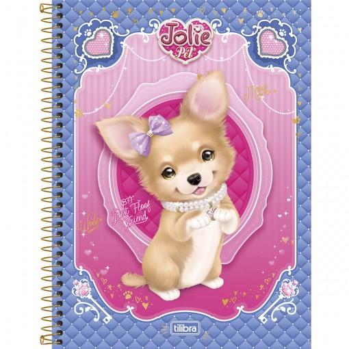 Caderno Espiral Capa Dura Universitário 10 Matérias Jolie Pet 200 Folhas - Sortido (Pacote com 4 unidades)