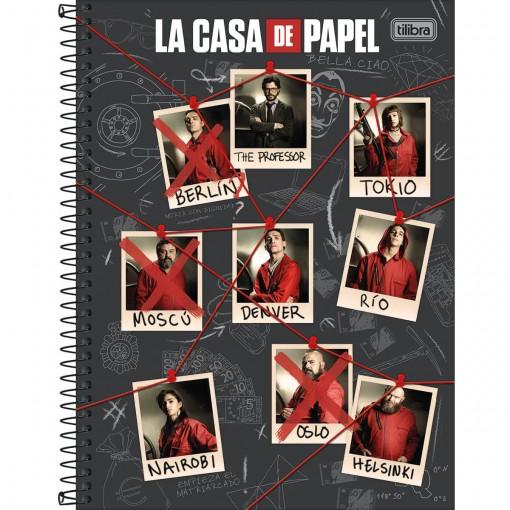 Caderno Espiral Capa Dura Universitário 10 Matérias La Casa de Papel 160 Folhas (Pacote com 4 unidades) - Sortido