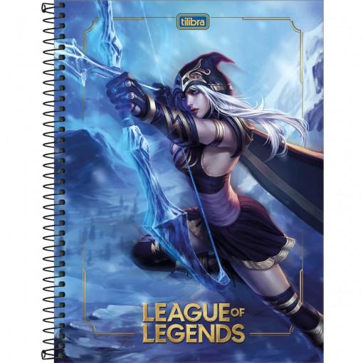 Caderno Espiral Capa Dura Universitário 10 Matérias League of Legends 160 Folhas (Pacote com 4 unidades) - Sortido