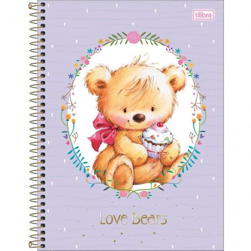 Caderno Espiral Capa Dura Universitário 10 Matérias Love Bears 200 Folhas - Sortido (Pacote com 4 unidades)
