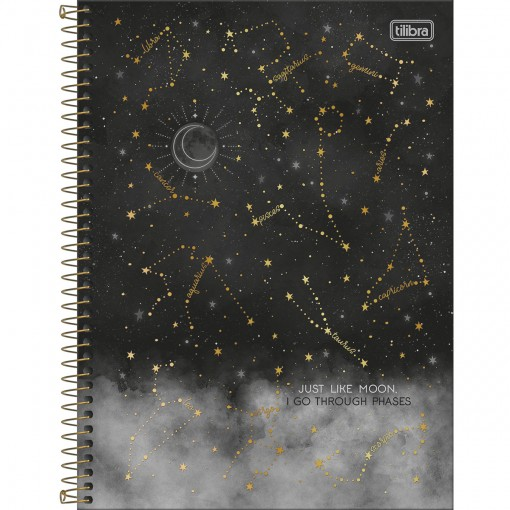 Caderno Espiral Capa Dura Universitário 10 Matérias Magic 160 Folhas - Just Like Moon - Sortido