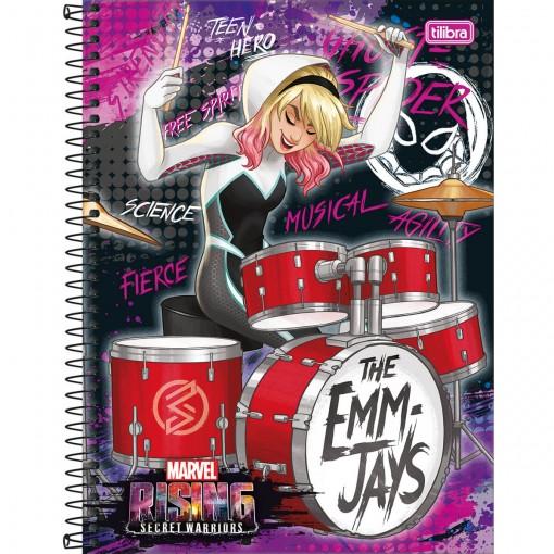 Caderno Espiral Capa Dura Universitário 10 Matérias Marvel Rising 160 Folhas (Pacote com 4 unidades) - Sortido