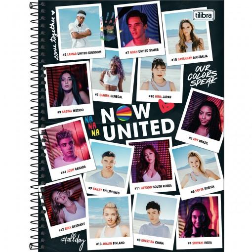Caderno Espiral Capa Dura Universitário 10 Matérias Now United 160 Folhas - Fotografias - Sortido
