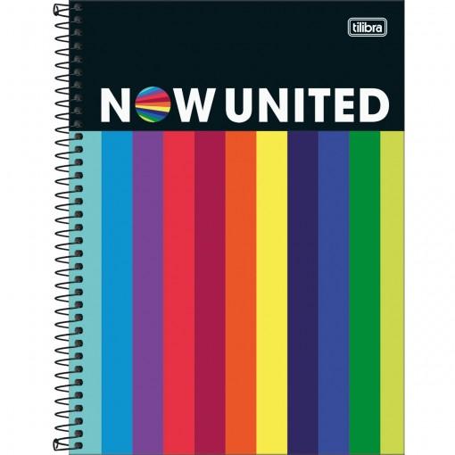 Caderno Espiral Capa Dura Universitário 10 Matérias Now United 160 Folhas - Listras Coloridas - Sortido