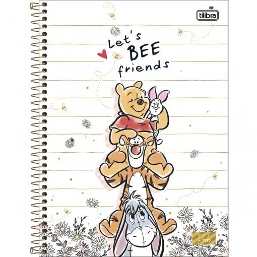 Caderno Espiral Capa Dura Universitário 10 Matérias Pooh 160 Folhas - Sortido