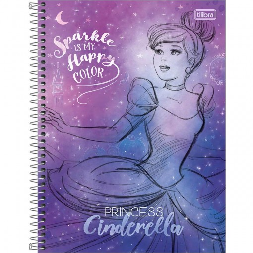 Caderno Espiral Capa Dura Universitário 10 Matérias Princesas 160 Folhas (Pacote com 4 unidades) - Sortido