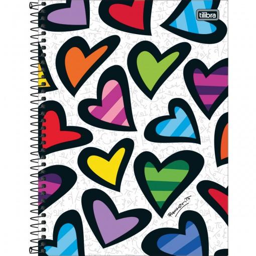 Caderno Espiral Capa Dura Universitário 10 Matérias Romero Britto 160 Folhas (Pacote com 4 unidades) - Sortido
