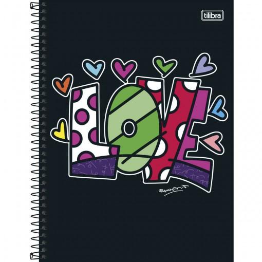 Caderno Espiral Capa Dura Universitário 10 Matérias Romero Britto 200 Folhas (Pacote com 4 unidades) - Sortido