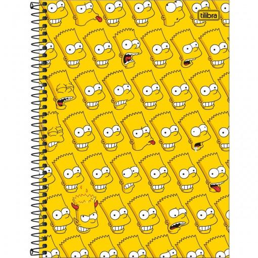 Caderno Espiral Capa Dura Universitário 10 Matérias Simpsons 160 Folhas - Bart Fundo Amarelo - Sortido