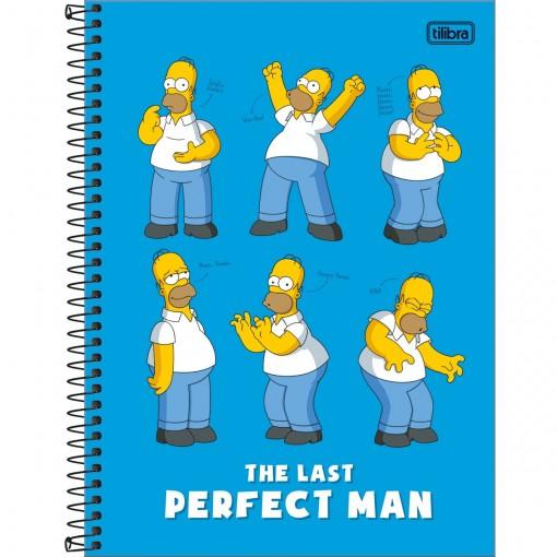 Caderno Espiral Capa Dura Universitário 10 Matérias Simpsons 160 Folhas - Homer Fundo Azul - Sortido