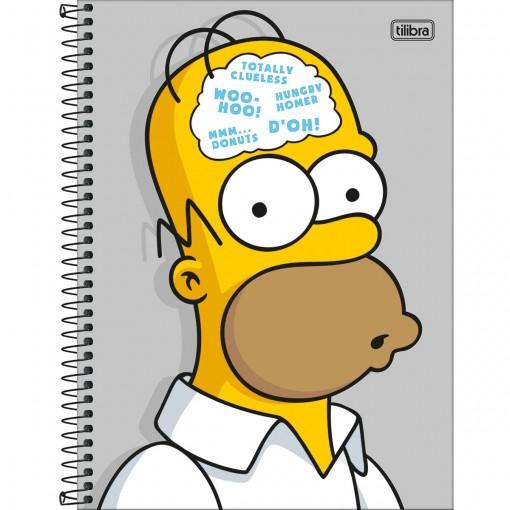 Caderno Espiral Capa Dura Universitário 10 Matérias Simpsons 160 Folhas - Homer Fundo Cinza - Sortido