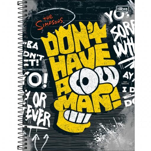 Caderno Espiral Capa Dura Universitário 10 Matérias Simpsons 160 Folhas - Sortido