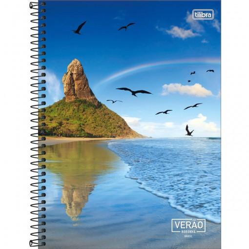 Caderno Espiral Capa Dura Universitário 10 Matérias Verão 200 Folhas (Pacote com 4 unidades) - Sortido