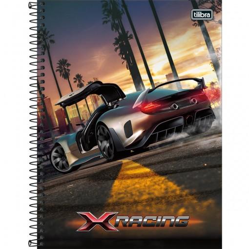 Caderno Espiral Capa Dura Universitário 10 Matérias X-Racing 200 Folhas (Pacote com 4 unidades) - Sortido