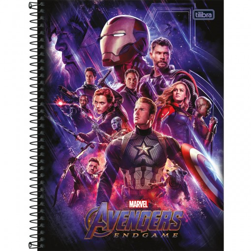 Caderno Espiral Capa Dura Universitário 12 Matérias Avengers Endgame 192 Folhas (Pacote com 4 unidades) - Sortido