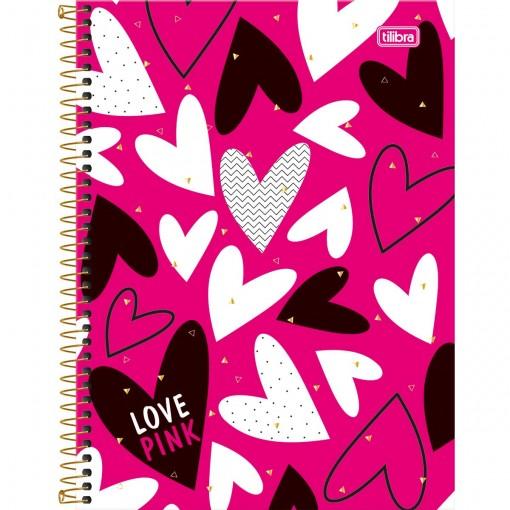 Caderno Espiral Capa Dura Universitário 12 Matérias Love Pink - 240 Folhas - Sortido