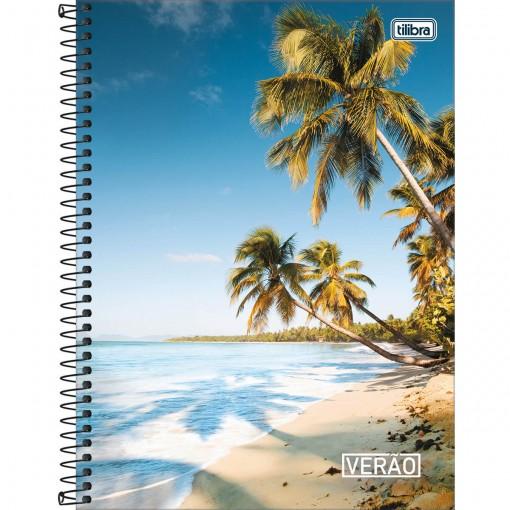 Caderno Espiral Capa Dura Universitário 12 Matérias Verão 240 Folhas (Pacote com 4 unidades) - Sortido