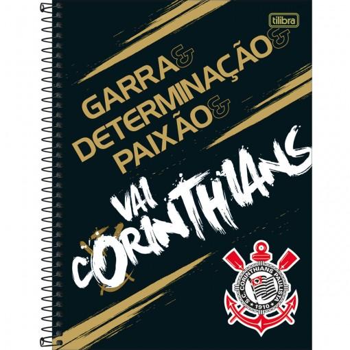 Caderno Espiral Capa Dura Universitário 16 Matérias Clube de Futebol Corinthians 256 Folhas - Sortido