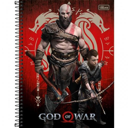 Caderno Espiral Capa Dura Universitário 16 Matérias God of War 256 Folhas - Sortido