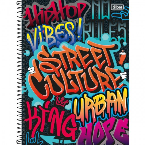 Caderno Espiral Capa Dura Universitário 16 Matérias Graffiti 256 Folhas - Sortido