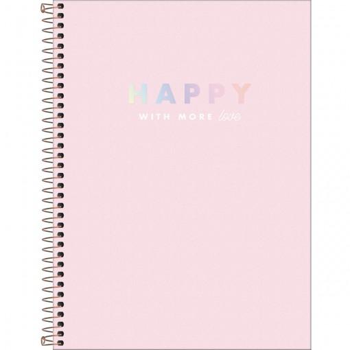 Caderno Espiral Capa Dura Universitário 16 Matérias Happy 256 Folhas - Sortido