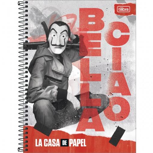 Caderno Espiral Capa Dura Universitário 16 Matérias La Casa de Papel 256 Folhas - Sortido