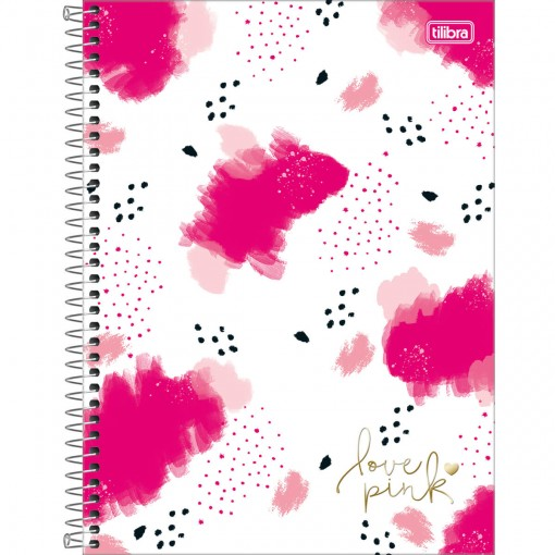 Caderno Espiral Capa Dura Universitário 16 Matérias Love Pink 256 Folhas - Sortido
