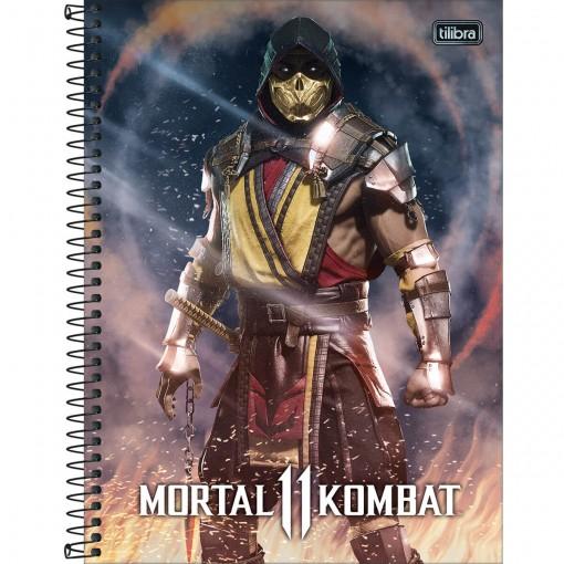 Caderno Espiral Capa Dura Universitário 16 Matérias Mortal Kombat 256 Folhas - Sortido