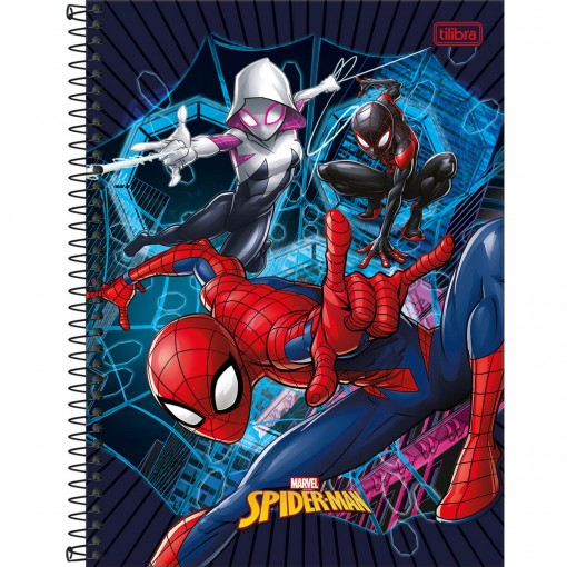 Caderno Espiral Capa Dura Universitário 16 Matérias Spider-Man Light 256 Folhas - Sortido