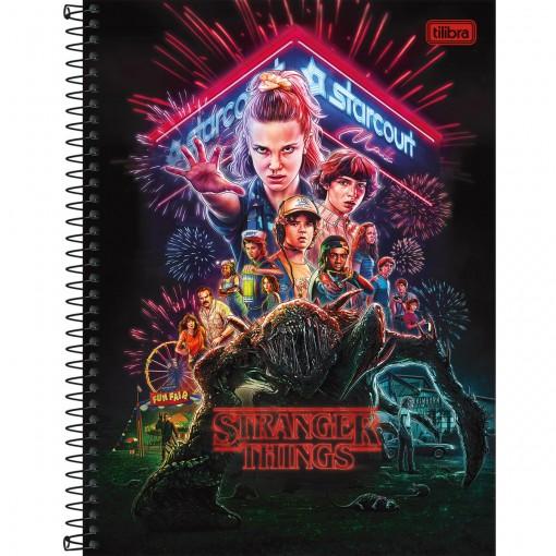 Caderno Espiral Capa Dura Universitário 16 Matérias Stranger Things 256 Folhas - Sortido