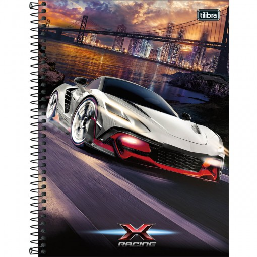 Caderno Espiral Capa Dura Universitário 16 Matérias X-Racing 256 Folhas - Sortido
