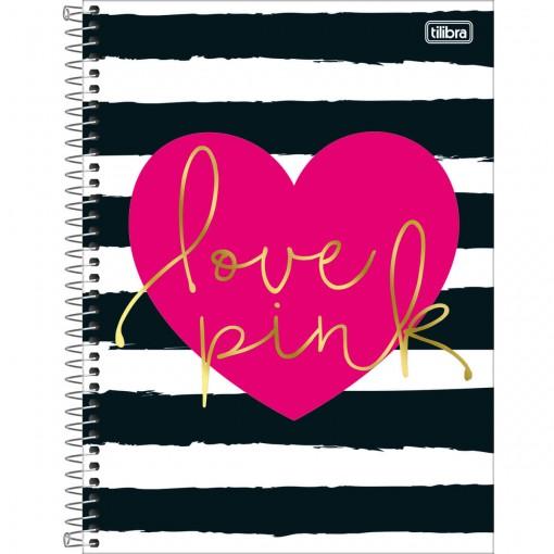 Caderno Espiral Capa Dura Universitário 20 Matérias Love Pink 400 Folhas - Sortido
