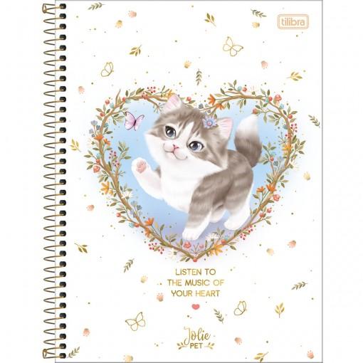 Caderno Espiral Capa Dura Universitário Jolie Pet 10 Matérias 160 Folhas (Pacote com 4 unidades) - Sortido