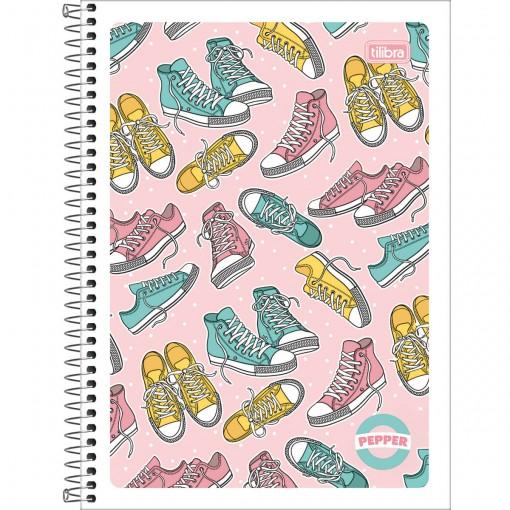 Caderno Espiral Capa Flexível Universitário 1 Matéria Pepper Feminino 80 Folhas (Pacote com 4 unidades) - Sortido