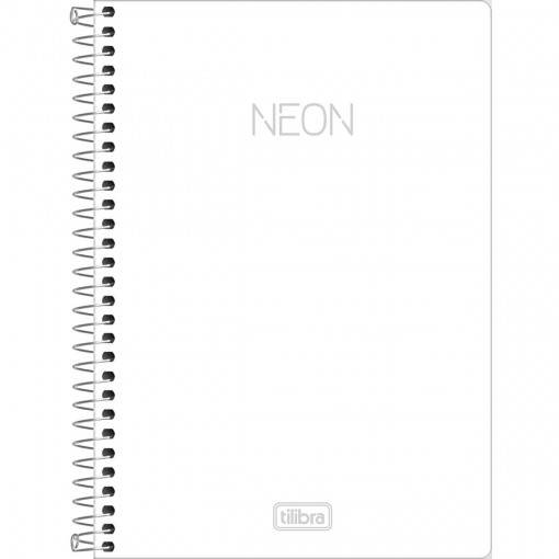 Caderno Espiral Capa Plástica 1/4 Neon Branco 80 Folhas