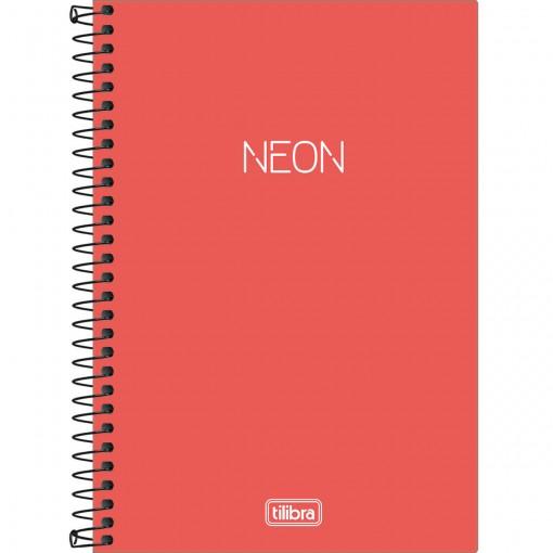 Caderno Espiral Capa Plástica 1/4 Neon Laranja 80 Folhas