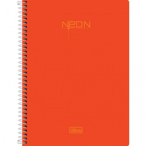 Caderno Espiral Capa Plástica 1/4 Neon Laranja 96 Folhas