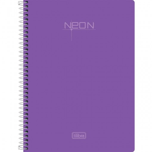 Caderno Espiral Capa Plástica 1/4 Neon Lilás 96 Folhas