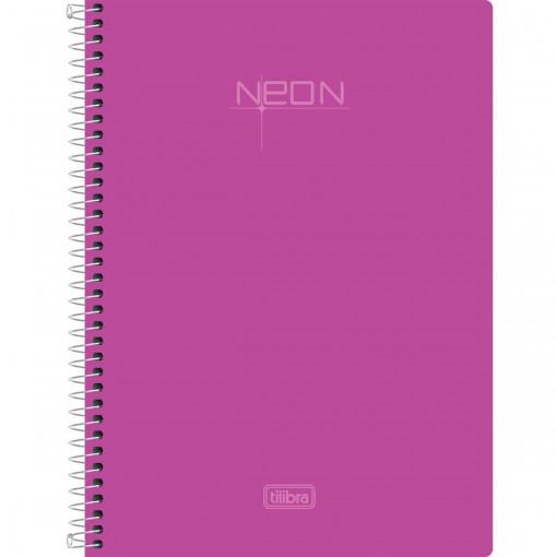 Caderno Espiral Capa Plástica 1/4 Neon Rosa 96 Folhas