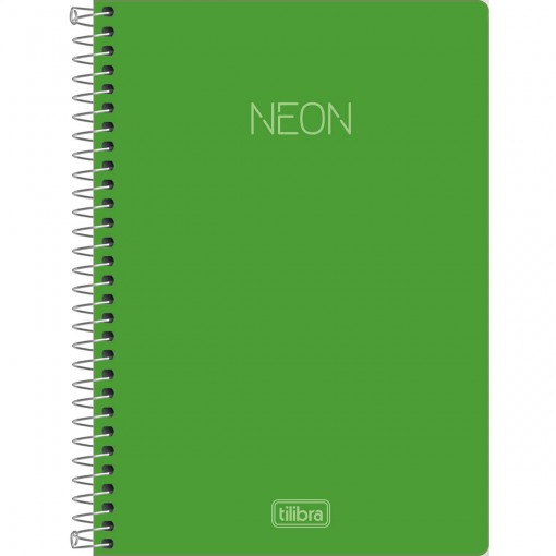 Caderno Espiral Capa Plástica 1/4 Neon Verde 80 Folhas