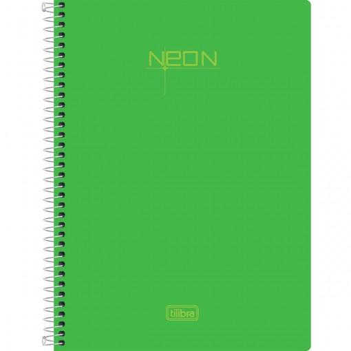 Caderno Espiral Capa Plástica 1/4 Neon Verde 96 Folhas