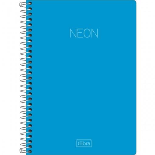Caderno Espiral Capa Plástica 1/4 sem Pauta Neon Azul 80 Folhas