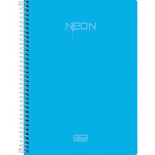 Caderno Espiral Capa Plástica 1/4 Sem Pauta Neon Azul 96 Folhas