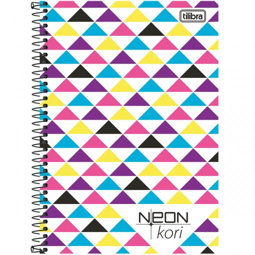 Caderno Espiral Capa Plástica 1/4 Sem Pauta Neon Kori 96 Folhas