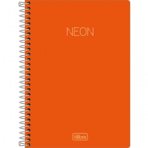 Caderno Espiral Capa Plástica 1/4 sem Pauta Neon Laranja 80 Folhas