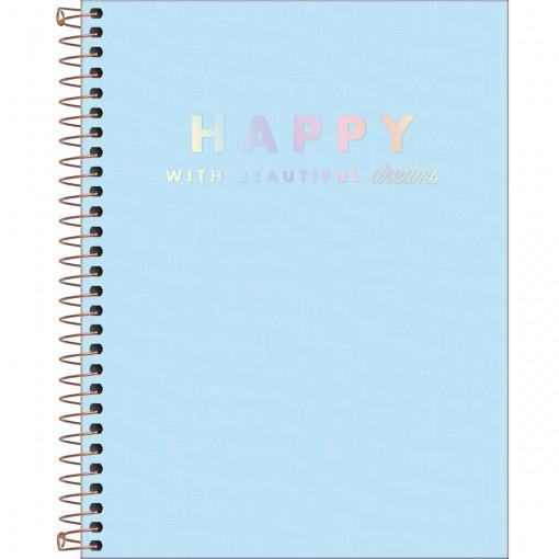 Caderno Espiral Capa Plástica Colegial 1 Matéria Happy Azul 80 Folhas